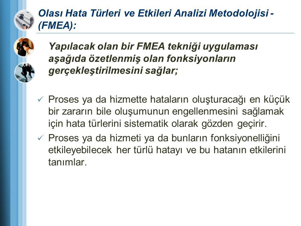 Olası Hata Türleri ve Etkileri Analizi Metodolojisi - (FMEA): Yapılacak olan bir FMEA tekniği uygulaması aşağıda özetlenmiş olan fonksiyonların gerçek