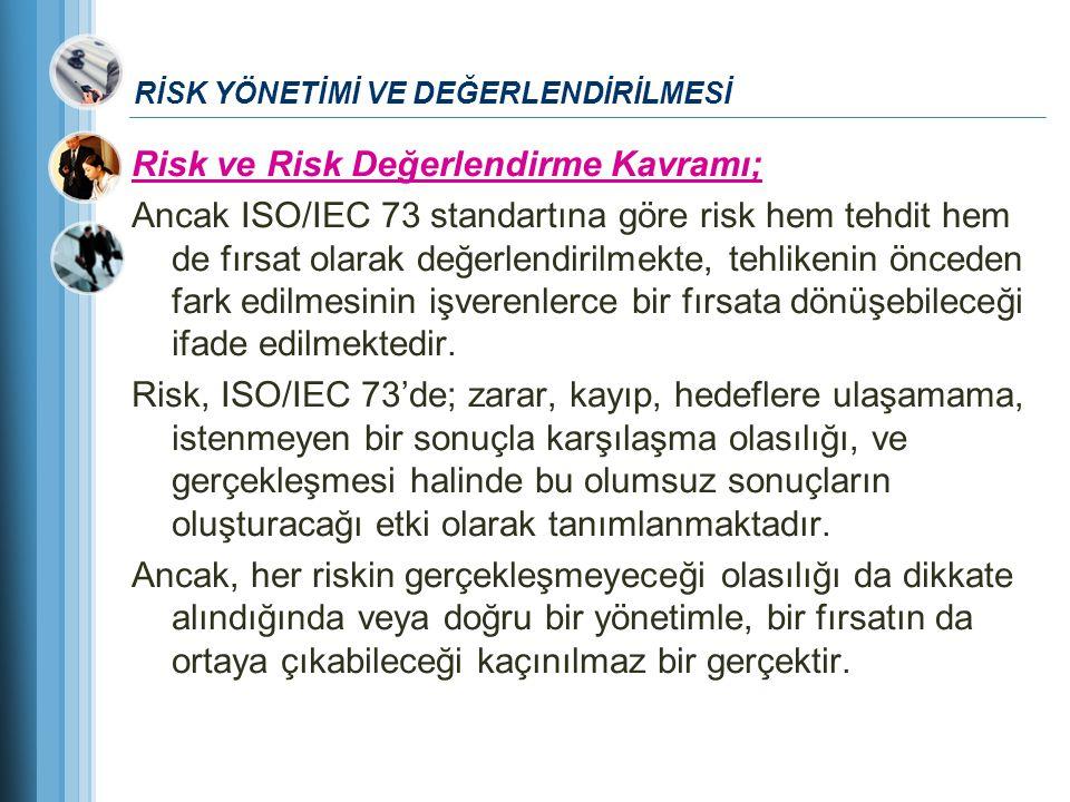 RİSK YÖNETİMİ VE DEĞERLENDİRİLMESİ Risk ve Risk Değerlendirme Kavramı; Ancak ISO/IEC 73 standartına göre risk hem tehdit hem de fırsat olarak değerlen
