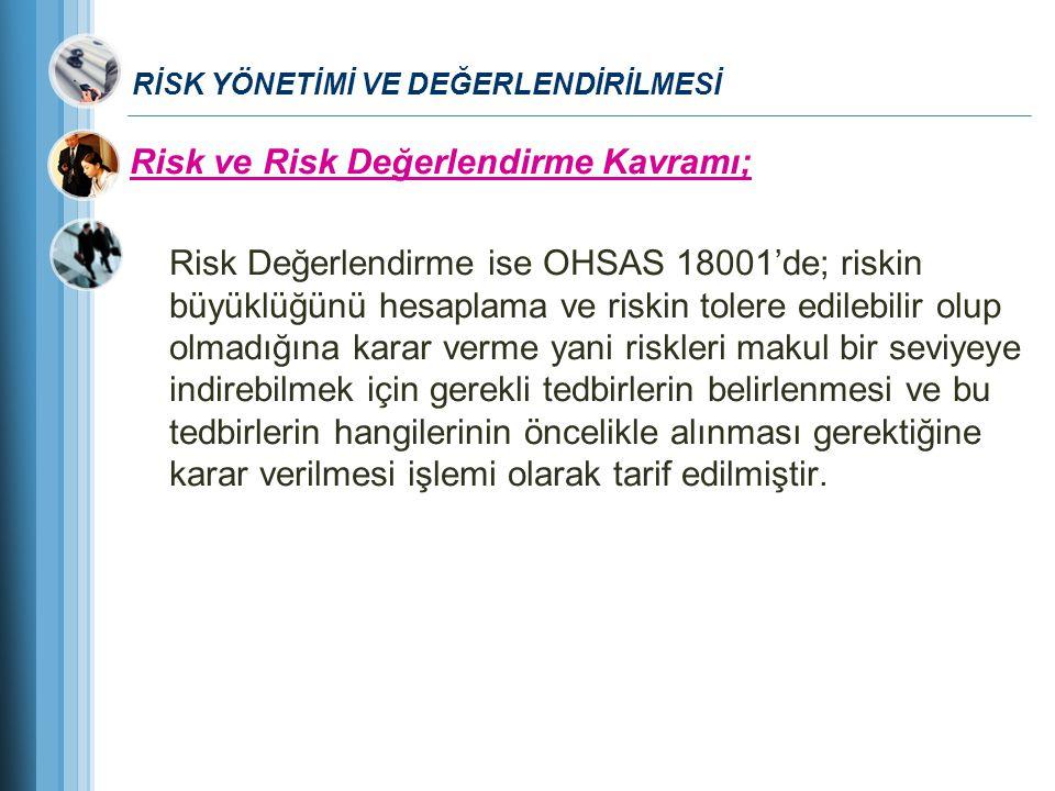 RİSK YÖNETİMİ VE DEĞERLENDİRİLMESİ Risk ve Risk Değerlendirme Kavramı; Risk Değerlendirme ise OHSAS 18001'de; riskin büyüklüğünü hesaplama ve riskin t