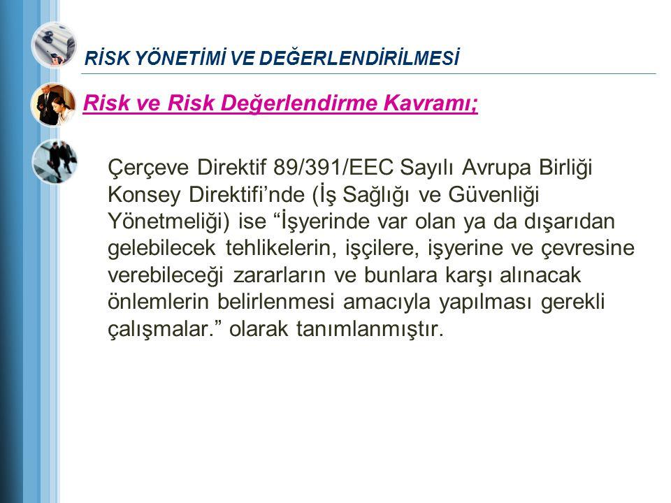 RİSK YÖNETİMİ VE DEĞERLENDİRİLMESİ Risk ve Risk Değerlendirme Kavramı; Çerçeve Direktif 89/391/EEC Sayılı Avrupa Birliği Konsey Direktifi'nde (İş Sağl