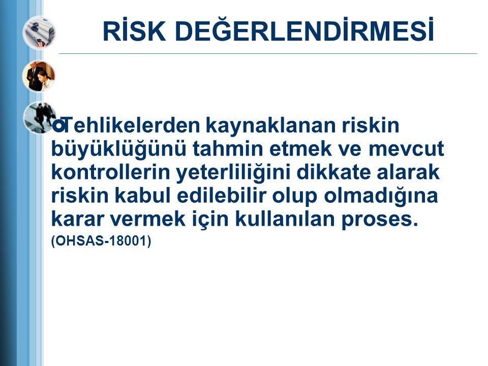 RİSK DEĞERLENDİRMESİ  Tehlikelerden kaynaklanan riskin büyüklüğünü tahmin etmek ve mevcut kontrollerin yeterliliğini dikkate alarak riskin kabul edil