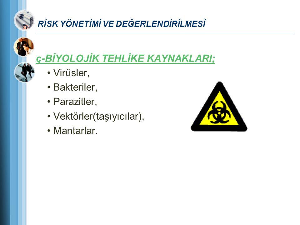 RİSK YÖNETİMİ VE DEĞERLENDİRİLMESİ ç-BİYOLOJİK TEHLİKE KAYNAKLARI; Virüsler, Bakteriler, Parazitler, Vektörler(taşıyıcılar), Mantarlar.