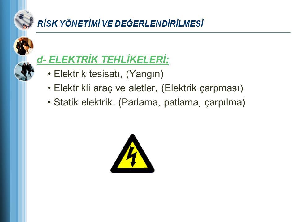 RİSK YÖNETİMİ VE DEĞERLENDİRİLMESİ d- ELEKTRİK TEHLİKELERİ; Elektrik tesisatı, (Yangın) Elektrikli araç ve aletler, (Elektrik çarpması) Statik elektri
