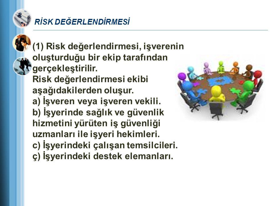 RİSK DEĞERLENDİRMESİ (1) Risk değerlendirmesi, işverenin oluşturduğu bir ekip tarafından gerçekleştirilir. Risk değerlendirmesi ekibi aşağıdakilerden