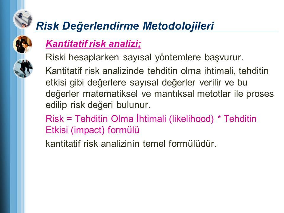 Risk Değerlendirme Metodolojileri Kantitatif risk analizi; Riski hesaplarken sayısal yöntemlere başvurur. Kantitatif risk analizinde tehditin olma iht
