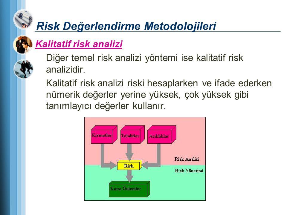 Risk Değerlendirme Metodolojileri Kalitatif risk analizi Diğer temel risk analizi yöntemi ise kalitatif risk analizidir. Kalitatif risk analizi riski