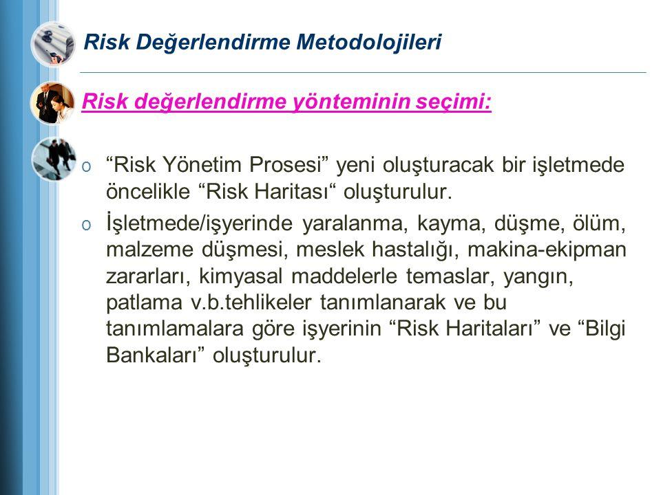 """Risk Değerlendirme Metodolojileri Risk değerlendirme yönteminin seçimi: o """"Risk Yönetim Prosesi"""" yeni oluşturacak bir işletmede öncelikle """"Risk Harita"""