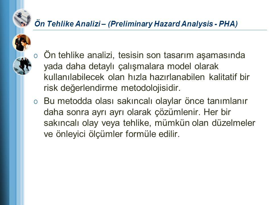 Ön Tehlike Analizi – (Preliminary Hazard Analysis - PHA) o Ön tehlike analizi, tesisin son tasarım aşamasında yada daha detaylı çalışmalara model olar