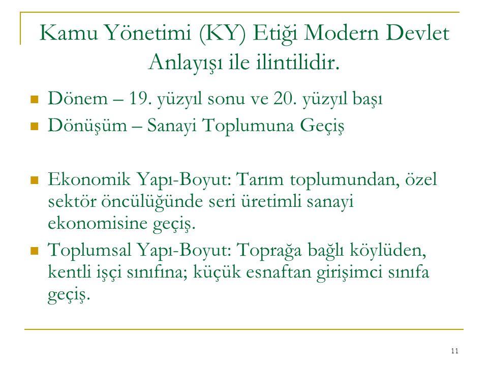 11 Kamu Yönetimi (KY) Etiği Modern Devlet Anlayışı ile ilintilidir.