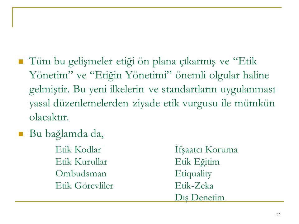 21 Tüm bu gelişmeler etiği ön plana çıkarmış ve Etik Yönetim ve Etiğin Yönetimi önemli olgular haline gelmiştir.