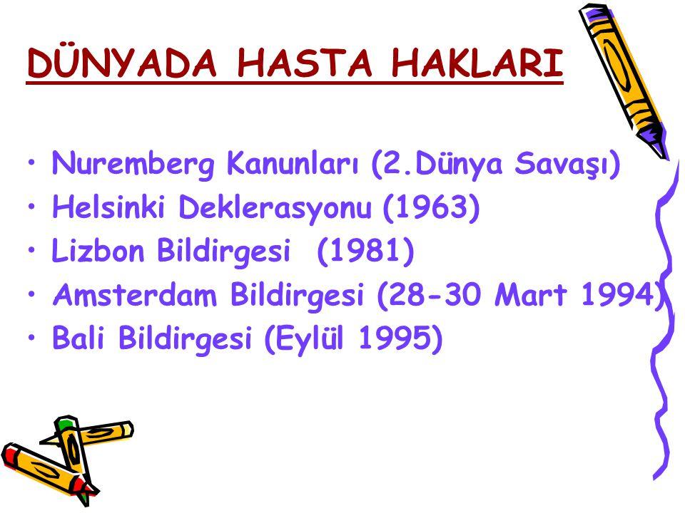 Nuremberg Kanunları (2.Dünya Savaşı) Helsinki Deklerasyonu (1963) Lizbon Bildirgesi (1981) Amsterdam Bildirgesi (28-30 Mart 1994) Bali Bildirgesi (Eyl