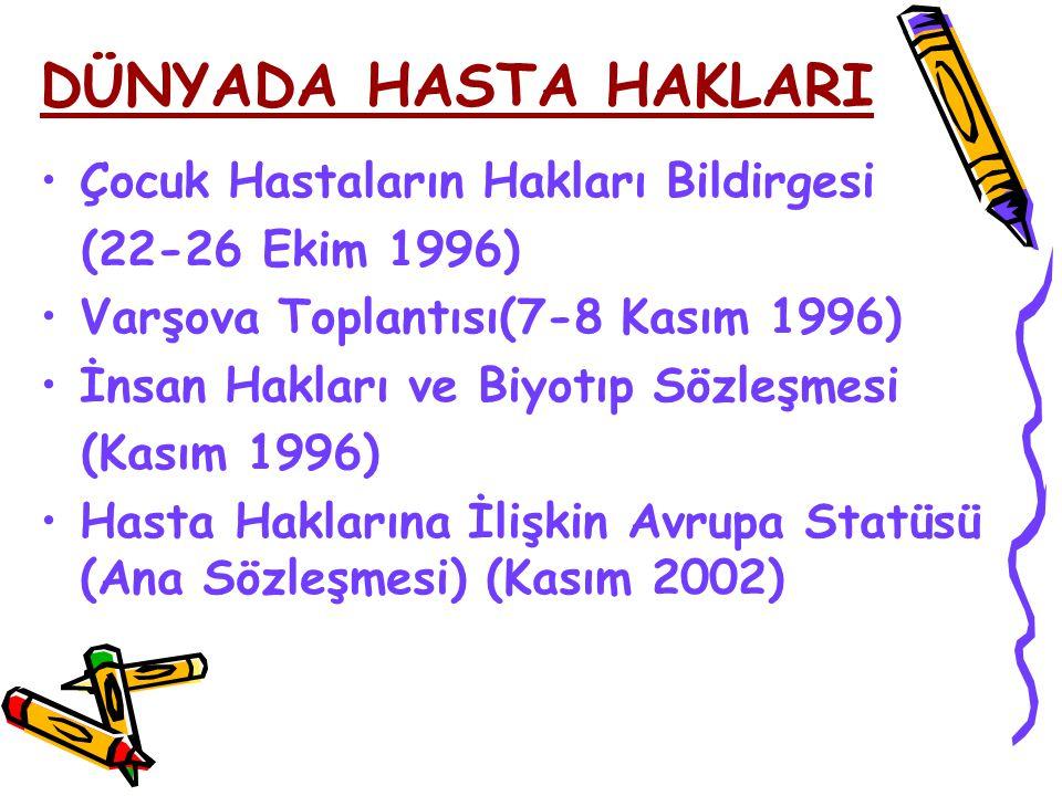 Çocuk Hastaların Hakları Bildirgesi (22-26 Ekim 1996) Varşova Toplantısı(7-8 Kasım 1996) İnsan Hakları ve Biyotıp Sözleşmesi (Kasım 1996) Hasta Haklar