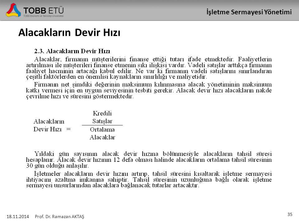 İşletme Sermayesi Yönetimi Alacakların Devir Hızı 18.11.2014 35 Prof. Dr. Ramazan AKTAŞ