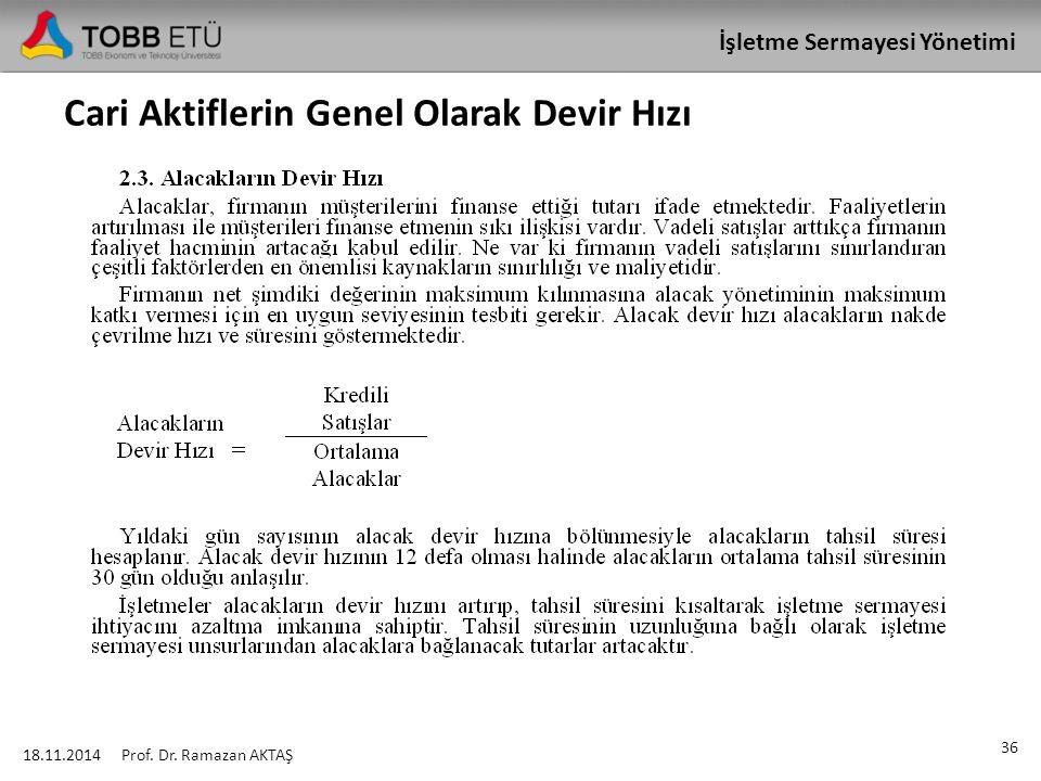 İşletme Sermayesi Yönetimi Cari Aktiflerin Genel Olarak Devir Hızı 18.11.2014 36 Prof. Dr. Ramazan AKTAŞ