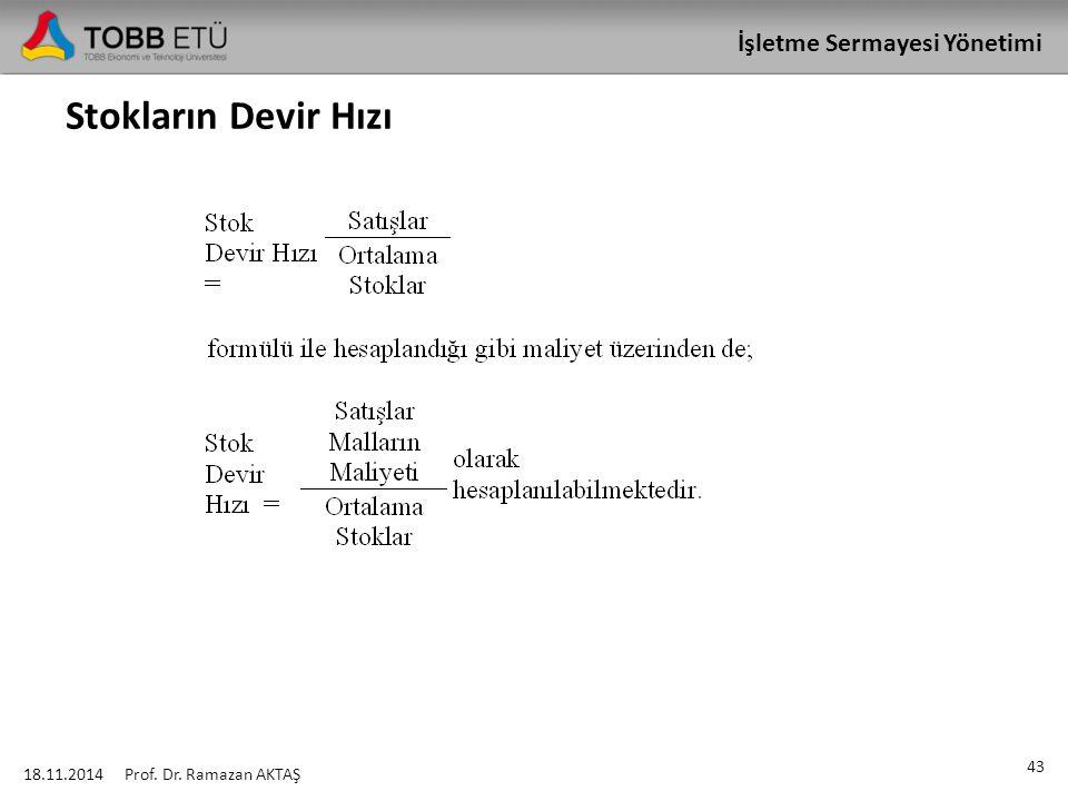 İşletme Sermayesi Yönetimi Stokların Devir Hızı 18.11.2014 43 Prof. Dr. Ramazan AKTAŞ