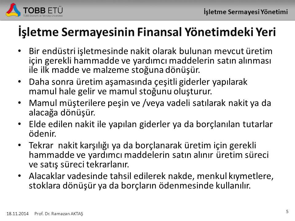 İşletme Sermayesi Yönetimi Cari Aktiflerin Genel Olarak Devir Hızı 18.11.2014 36 Prof.