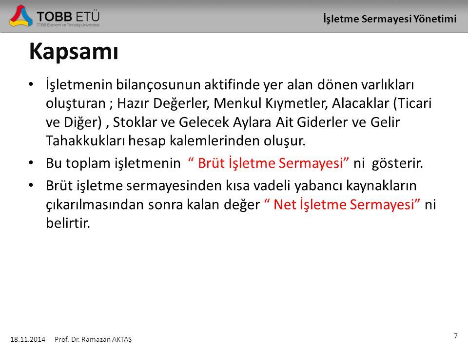 İşletme Sermayesi Yönetimi 18.11.2014 78 Prof.Dr.