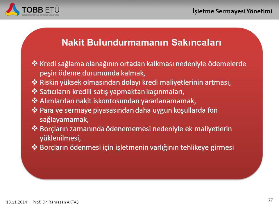 İşletme Sermayesi Yönetimi 18.11.2014 77 Prof. Dr. Ramazan AKTAŞ Nakit Bulundurmamanın Sakıncaları  Kredi sağlama olanağının ortadan kalkması nedeniy