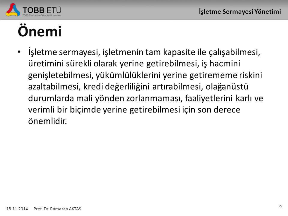İşletme Sermayesi Yönetimi Cari Aktif ve Pasif Kalemlerin Devir Hızı 18.11.2014 30 Prof.