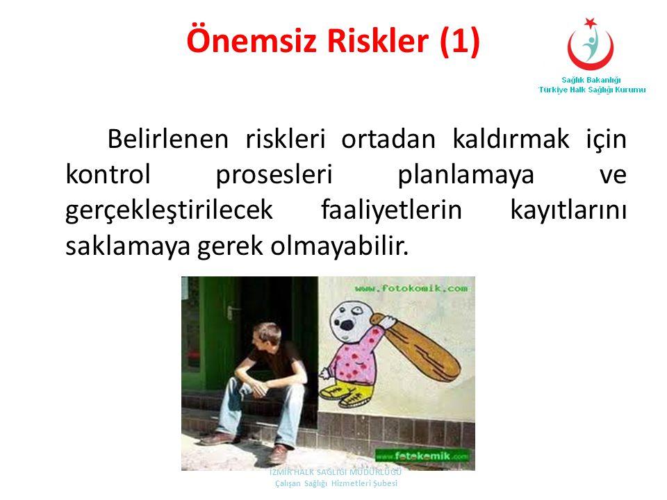 Önemsiz Riskler (1) Belirlenen riskleri ortadan kaldırmak için kontrol prosesleri planlamaya ve gerçekleştirilecek faaliyetlerin kayıtlarını saklamaya