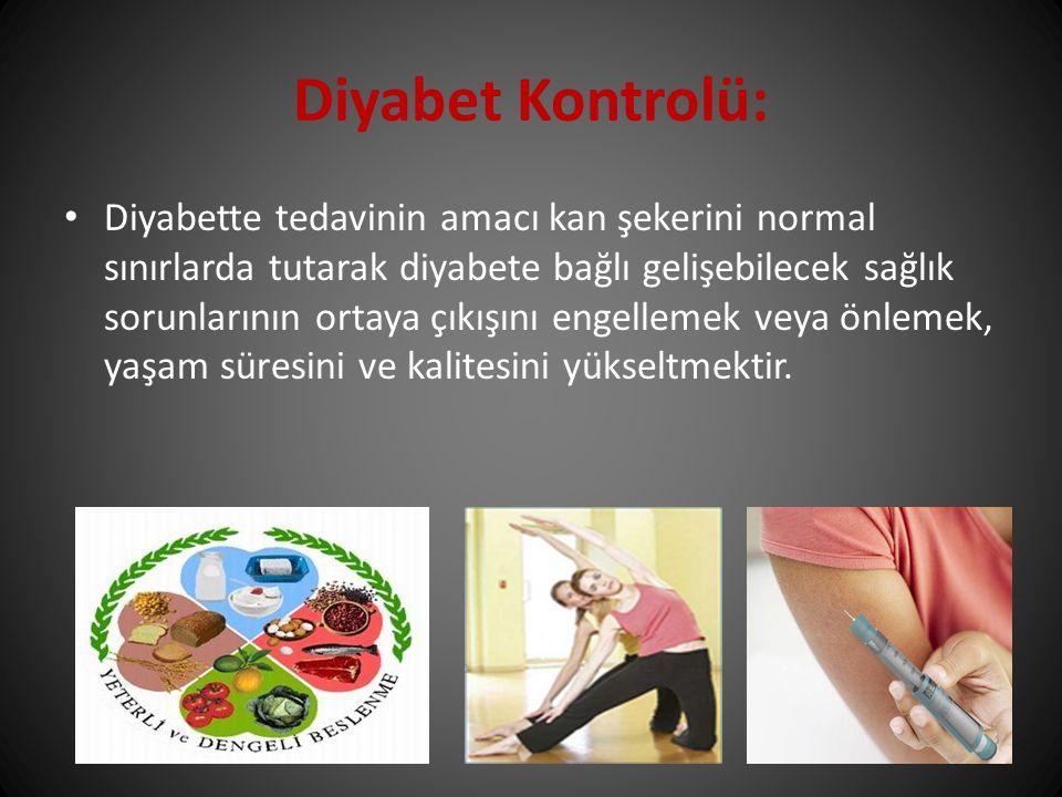 Diyabette tedavinin amacı kan şekerini normal sınırlarda tutarak diyabete bağlı gelişebilecek sağlık sorunlarının ortaya çıkışını engellemek veya önle