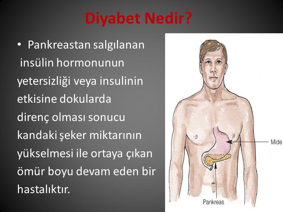 Pankreastan salgılanan insülin hormonunun yetersizliği veya insulinin etkisine dokularda direnç olması sonucu kandaki şeker miktarının yükselmesi ile