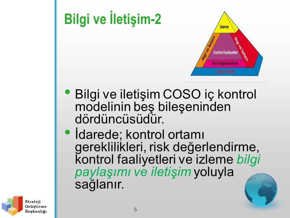 Bilgi ve İletişim-2 5 Bilgi ve iletişim COSO iç kontrol modelinin beş bileşeninden dördüncüsüdür. İdarede; kontrol ortamı gereklilikleri, risk değerle