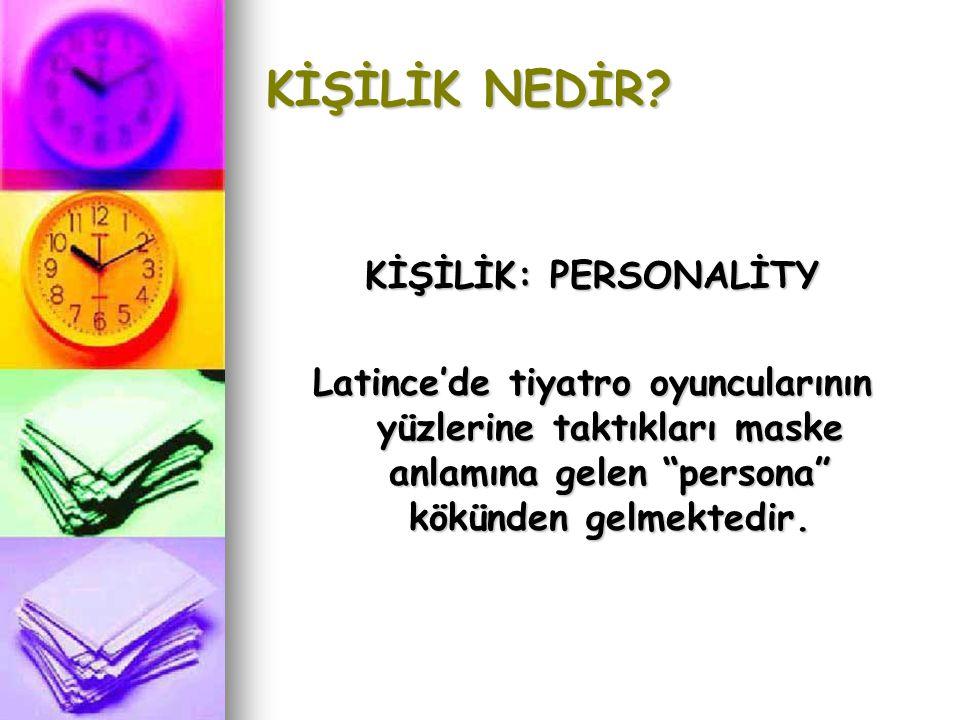 TANIMI  Kişinin toplumda oynadığı roldür. Bireysel farklılıkları vurgulamak için kullanılır.