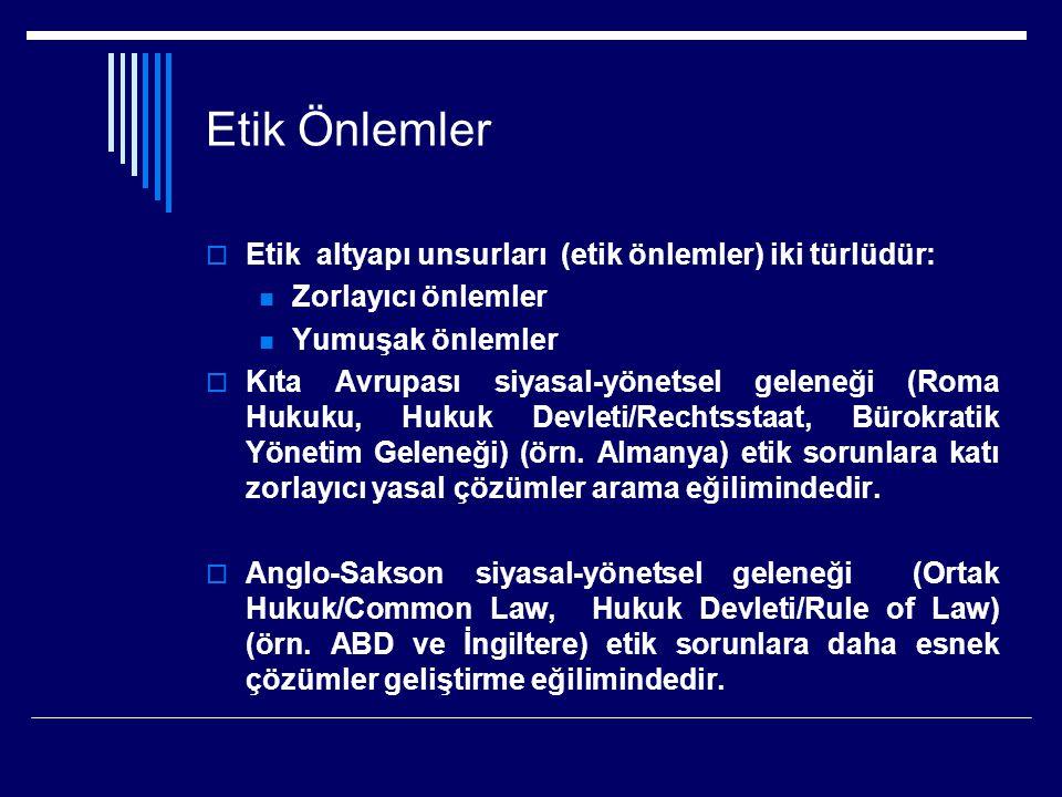 Etik Önlemler  Etik altyapı unsurları (etik önlemler) iki türlüdür: Zorlayıcı önlemler Yumuşak önlemler  Kıta Avrupası siyasal-yönetsel geleneği (Roma Hukuku, Hukuk Devleti/Rechtsstaat, Bürokratik Yönetim Geleneği) (örn.