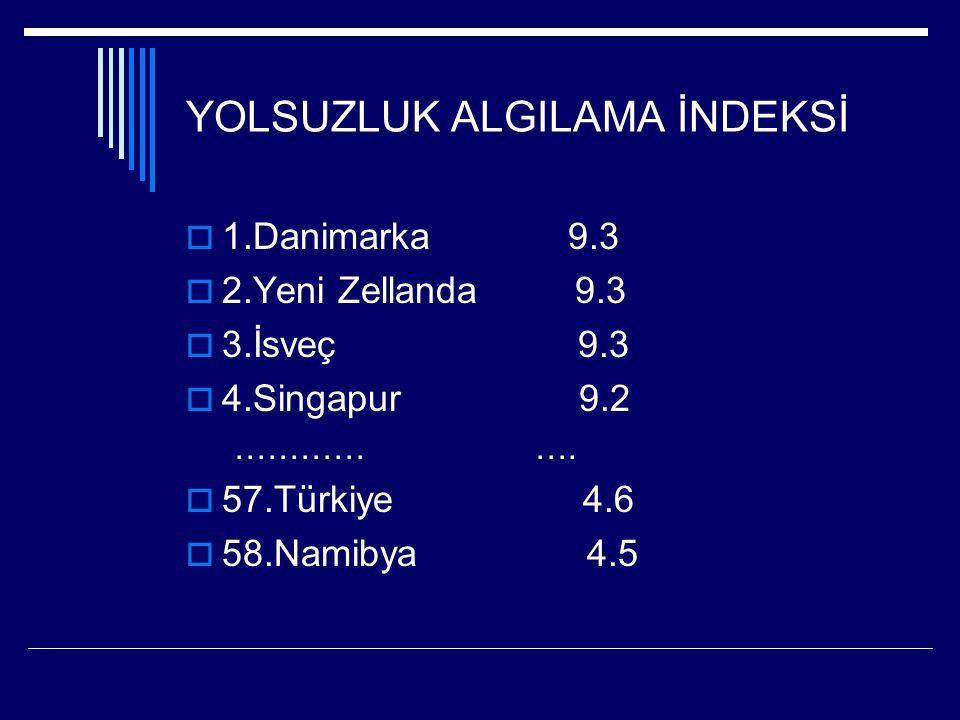 YOLSUZLUK ALGILAMA İNDEKSİ  1.Danimarka 9.3  2.Yeni Zellanda 9.3  3.İsveç 9.3  4.Singapur 9.2 ………… ….  57.Türkiye 4.6  58.Namibya 4.5