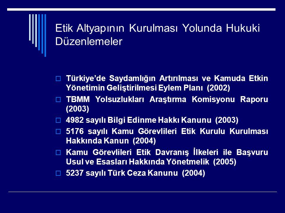 Etik Altyapının Kurulması Yolunda Hukuki Düzenlemeler  Türkiye'de Saydamlığın Artırılması ve Kamuda Etkin Yönetimin Geliştirilmesi Eylem Planı (2002)  TBMM Yolsuzlukları Araştırma Komisyonu Raporu (2003)  4982 sayılı Bilgi Edinme Hakkı Kanunu (2003)  5176 sayılı Kamu Görevlileri Etik Kurulu Kurulması Hakkında Kanun (2004)  Kamu Görevlileri Etik Davranış İlkeleri ile Başvuru Usul ve Esasları Hakkında Yönetmelik (2005)  5237 sayılı Türk Ceza Kanunu (2004)