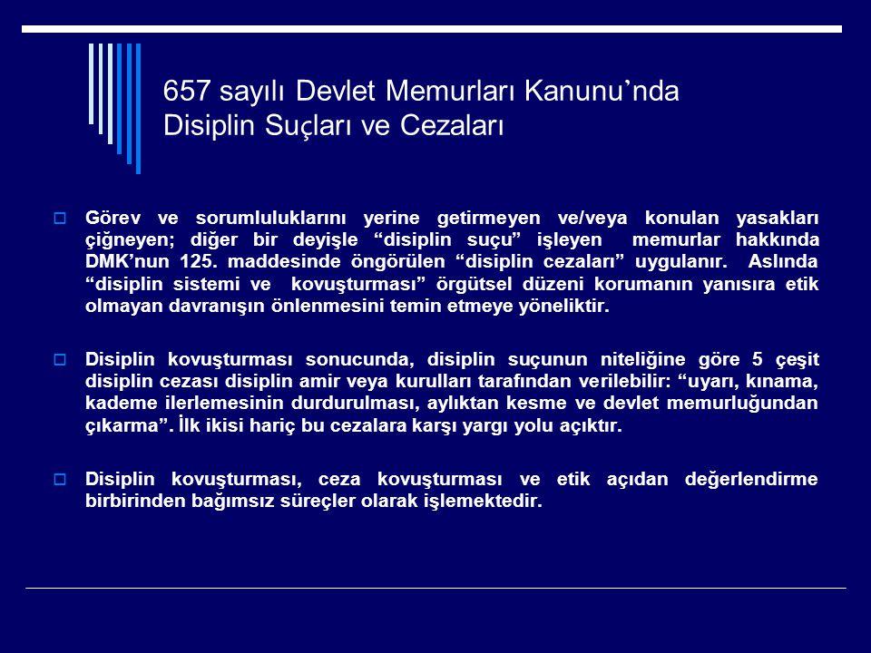657 sayılı Devlet Memurları Kanunu ' nda Disiplin Su ç ları ve Cezaları  Görev ve sorumluluklarını yerine getirmeyen ve/veya konulan yasakları çiğneyen; diğer bir deyişle disiplin suçu işleyen memurlar hakkında DMK'nun 125.
