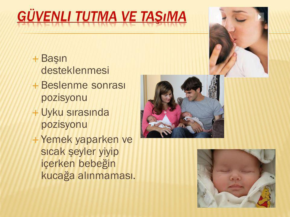  Başın desteklenmesi  Beslenme sonrası pozisyonu  Uyku sırasında pozisyonu  Yemek yaparken ve sıcak şeyler yiyip içerken bebeğin kucağa alınmaması