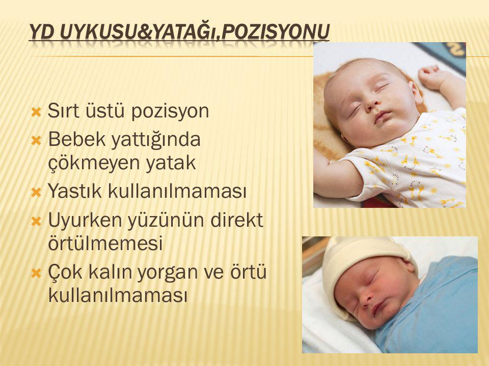  Sırt üstü pozisyon  Bebek yattığında çökmeyen yatak  Yastık kullanılmaması  Uyurken yüzünün direkt örtülmemesi  Çok kalın yorgan ve örtü kullanı