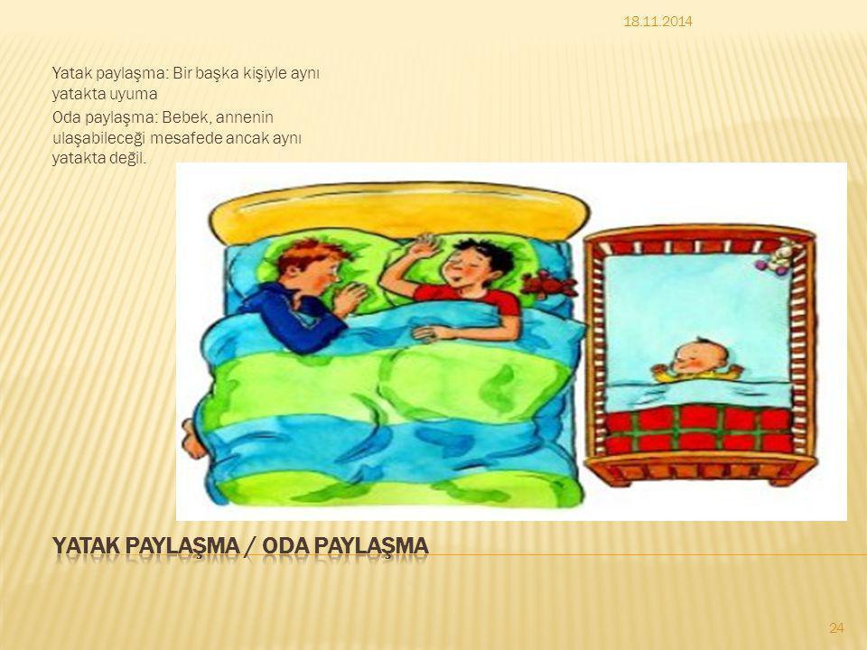 Yatak paylaşma: Bir başka kişiyle aynı yatakta uyuma Oda paylaşma: Bebek, annenin ulaşabileceği mesafede ancak aynı yatakta değil. 18.11.2014 24