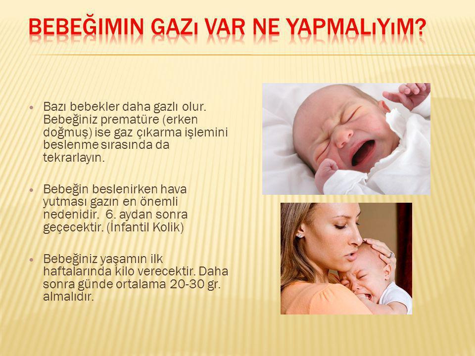 Bazı bebekler daha gazlı olur. Bebeğiniz prematüre (erken doğmuş) ise gaz çıkarma işlemini beslenme sırasında da tekrarlayın. Bebeğin beslenirken hava