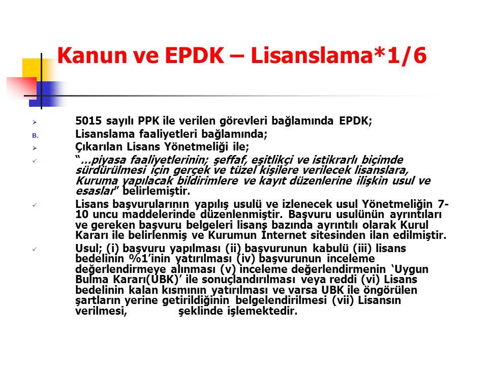Kanun ve EPDK – Lisanslama*1/6  5015 sayılı PPK ile verilen görevleri bağlamında EPDK; B. Lisanslama faaliyetleri bağlamında;  Çıkarılan Lisans Yöne