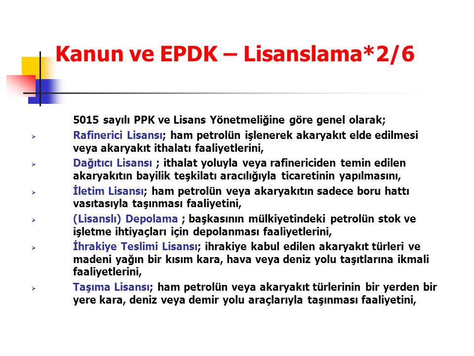 Kanun ve EPDK – Lisanslama*2/6 5015 sayılı PPK ve Lisans Yönetmeliğine göre genel olarak;  Rafinerici Lisansı; ham petrolün işlenerek akaryakıt elde