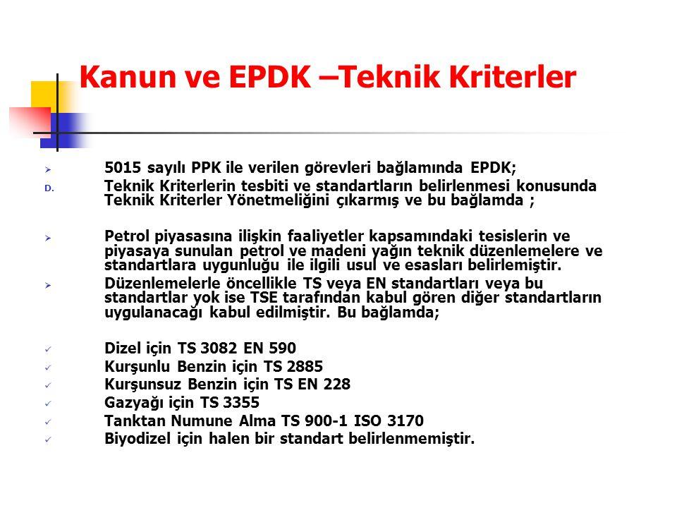 Kanun ve EPDK –Teknik Kriterler  5015 sayılı PPK ile verilen görevleri bağlamında EPDK; D. Teknik Kriterlerin tesbiti ve standartların belirlenmesi k
