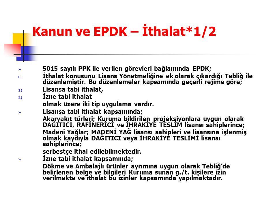 Kanun ve EPDK – İthalat*1/2  5015 sayılı PPK ile verilen görevleri bağlamında EPDK; E. İthalat konusunu Lisans Yönetmeliğine ek olarak çıkardığı Tebl