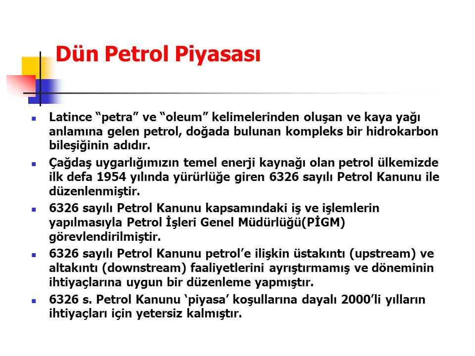 """Dün Petrol Piyasası Latince """"petra"""" ve """"oleum"""" kelimelerinden oluşan ve kaya yağı anlamına gelen petrol, doğada bulunan kompleks bir hidrokarbon bileş"""