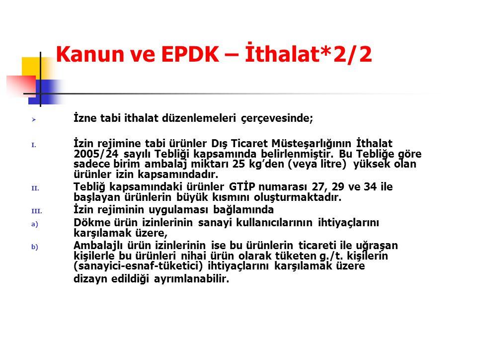 Kanun ve EPDK – İthalat*2/2  İzne tabi ithalat düzenlemeleri çerçevesinde; I. İzin rejimine tabi ürünler Dış Ticaret Müsteşarlığının İthalat 2005/24