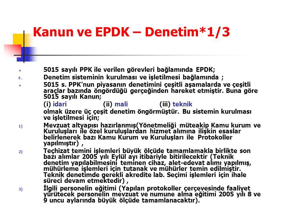 Kanun ve EPDK – Denetim*1/3  5015 sayılı PPK ile verilen görevleri bağlamında EPDK; F. Denetim sisteminin kurulması ve işletilmesi bağlamında ;  501