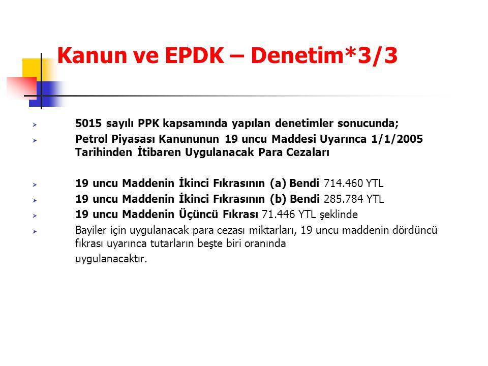 Kanun ve EPDK – Denetim*3/3  5015 sayılı PPK kapsamında yapılan denetimler sonucunda;  Petrol Piyasası Kanununun 19 uncu Maddesi Uyarınca 1/1/2005 T