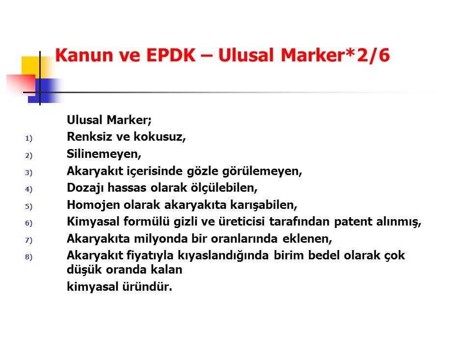 Kanun ve EPDK – Ulusal Marker*2/6 Ulusal Marker; 1) Renksiz ve kokusuz, 2) Silinemeyen, 3) Akaryakıt içerisinde gözle görülemeyen, 4) Dozajı hassas ol