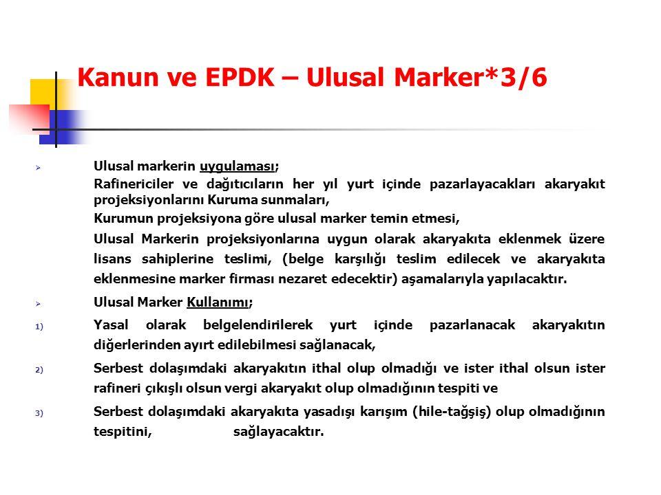 Kanun ve EPDK – Ulusal Marker*3/6  Ulusal markerin uygulaması; Rafinericiler ve dağıtıcıların her yıl yurt içinde pazarlayacakları akaryakıt projeksi