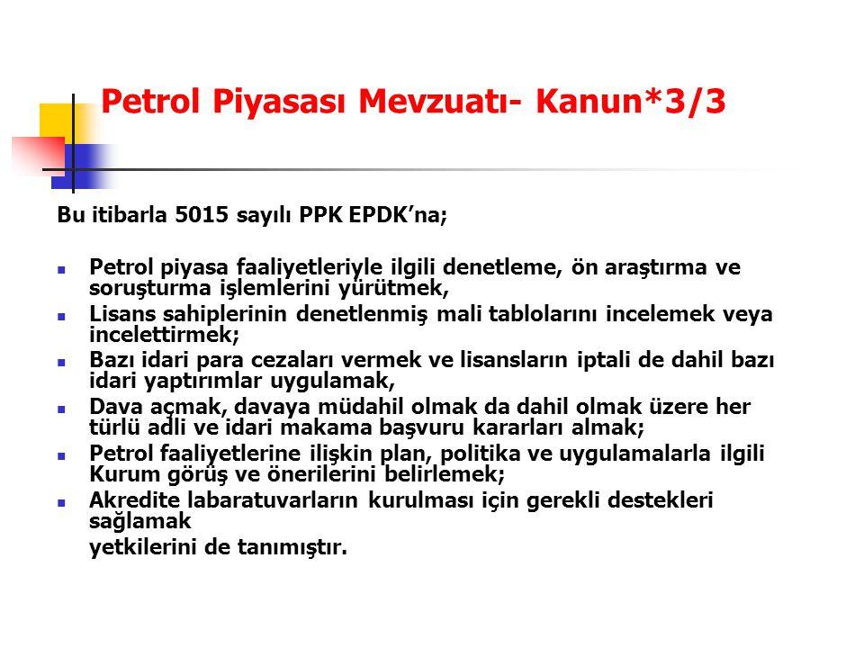 Petrol Piyasası Mevzuatı- Kanun*3/3 Bu itibarla 5015 sayılı PPK EPDK'na; Petrol piyasa faaliyetleriyle ilgili denetleme, ön araştırma ve soruşturma iş