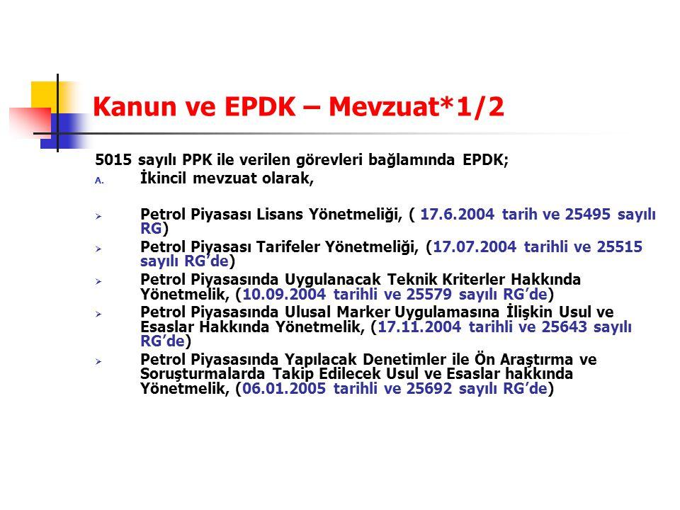 Kanun ve EPDK – Mevzuat*1/2 5015 sayılı PPK ile verilen görevleri bağlamında EPDK; A. İkincil mevzuat olarak,  Petrol Piyasası Lisans Yönetmeliği, (