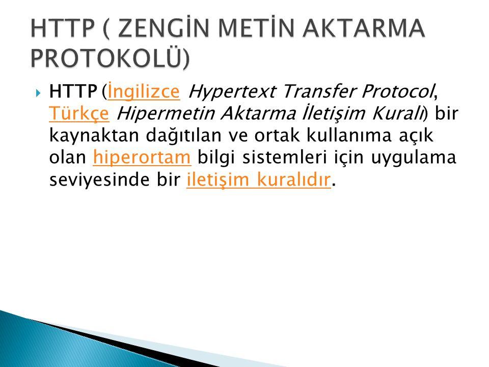  HTTP (İngilizce Hypertext Transfer Protocol, Türkçe Hipermetin Aktarma İletişim Kuralı) bir kaynaktan dağıtılan ve ortak kullanıma açık olan hiperor