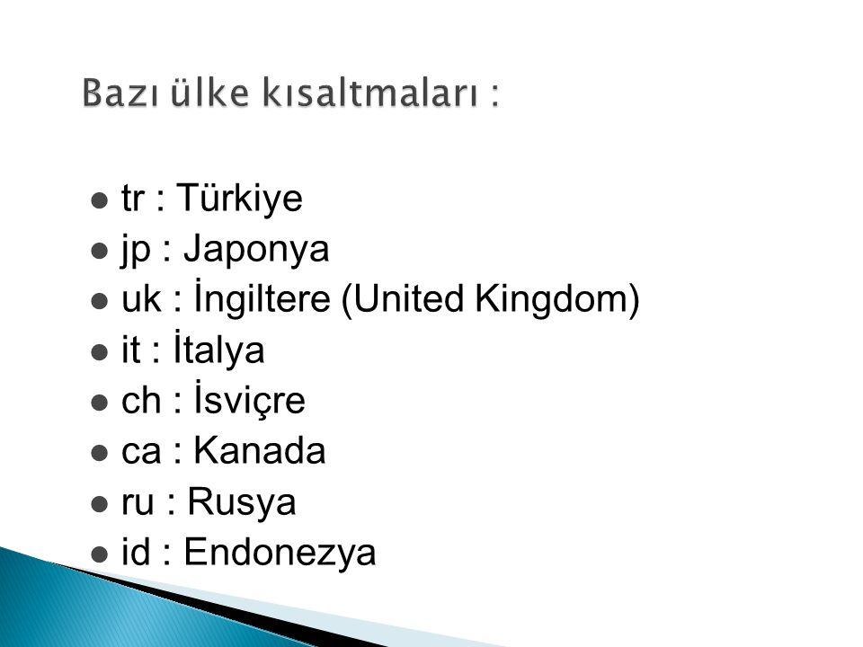 tr : Türkiye jp : Japonya uk : İngiltere (United Kingdom) it : İtalya ch : İsviçre ca : Kanada ru : Rusya id : Endonezya